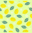 seamless pattern with lemon leaves vector image