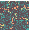seamless pattern with rowanberry and leaves vector image vector image