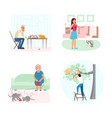 set of cat owners characters vector image