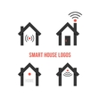 set of four black smart house logos vector image