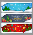 set of horizontal christmas new year banners vector image vector image