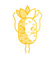 silhouette kawaii cute happy pineapple fruit vector image vector image