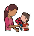 son give flowers to mother vector image vector image