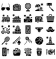 summer vacation related icon set 4 solid style vector image vector image