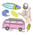 surfing vacation travel hand drawn vector image