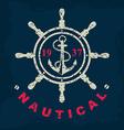 T-shirt print Nautical marine badge design vector image vector image
