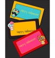 Three horizontal cards with fabric skulls vector image