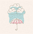 watercolor graphic of umbrella with cloud and rain vector image vector image