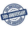 50th anniversary blue grunge stamp vector image vector image