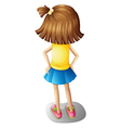 A backview of a young girl vector image