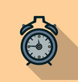 alarm clock icon with long shadow vector image vector image