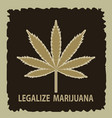 banner of marijuana legalization a leaf of vector image vector image