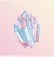 blue and pink crystal cartoon cute quartz vector image