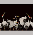 border with japanese white cranes oriental vector image vector image