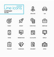 business concept company - line design icons set vector image vector image