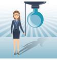 business woman cartoon get an idea vector image
