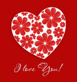 Card with heart and inscription - I love you vector image