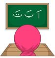chibi muslim female cartoon characters students vector image vector image