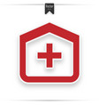 clinic icon medical hospital red flat icon vector image vector image