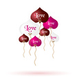 color helium balloons heart shape with love vector image vector image