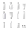Cosmetics Bottles Tubes Empty Clear Set vector image vector image