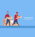courier robot carry box delivery package post vector image vector image