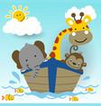 cute animals in boat vector image vector image