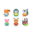 cute baanimals set badger fox hedgehog vector image vector image