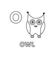 cute cartoon animals alphabet owl coloring vector image