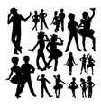 cute children dancing silhouettes vector image vector image