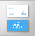 falcon bird line style logo and business card vector image vector image