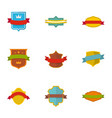 flag icons set flat style vector image vector image