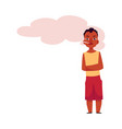 flat african adult man smoking isolated vector image