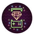 gamepad diamond neon video game wall vector image vector image
