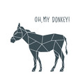 geometric donkey with funny lettering vector image vector image