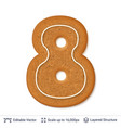 gingerbread number isolated on white vector image vector image