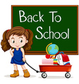 Girl and back to school sign vector image vector image