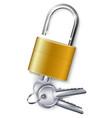 gold padlock with three keys vector image vector image