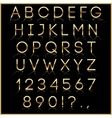 golden alphabet letters with reflection on black vector image