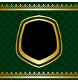 golden ornament on green ornamental background vector image