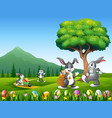 happy bunnies playing on the nature background vector image vector image
