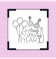 happy new year frame with party icons vector image vector image