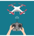 isolated flying drone with camera and vector image vector image