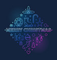 merry christmas colored linear concept vector image vector image