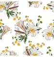 pattern with white lilies flowers and yellow herbs vector image vector image