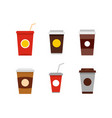 plastic cup icon set flat style vector image vector image