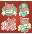 Pork vintage labels set vector image vector image