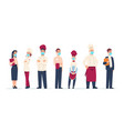 restaurant stuff workers wear protective face vector image vector image