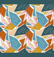 retro geometric seamless pattern trendy palm leaf vector image vector image