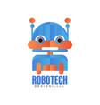robotech logo badge with friendly robot design vector image vector image